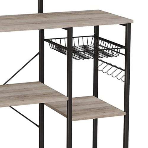 Bakers Rack with 4 Open Shelves and Wire Basket, Gray and Black Perspective: bottom