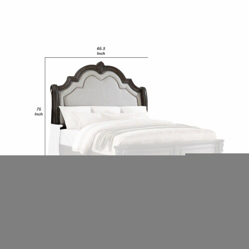 Queen Headboard with Scalloped Molded Top and Fabric Padding, Brown Perspective: bottom
