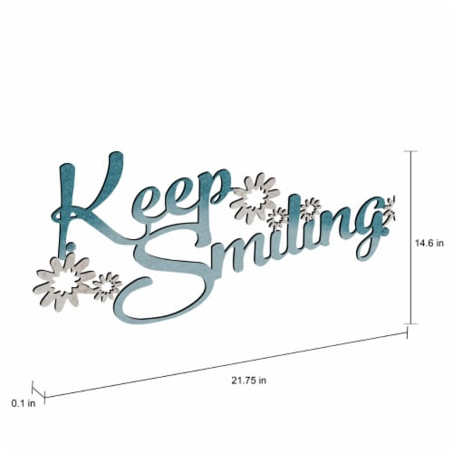 Metal Cutout- Keep Smiling Decorative Wall Sign-3D Word Art Home Accent Decor Perspective: bottom