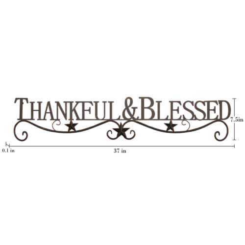 Metal Cutout-Thankful And Blessed Decorative Wall Sign-3D Word Art Home Accent Decor-Modern Perspective: bottom