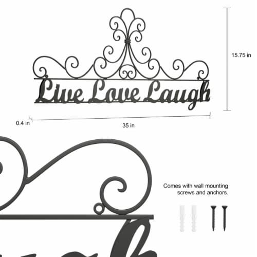 Metal Cutout-Live Laugh Love Decorative Wall Sign-3D Word Art Home Accent Decor-Modern Rustic Perspective: bottom