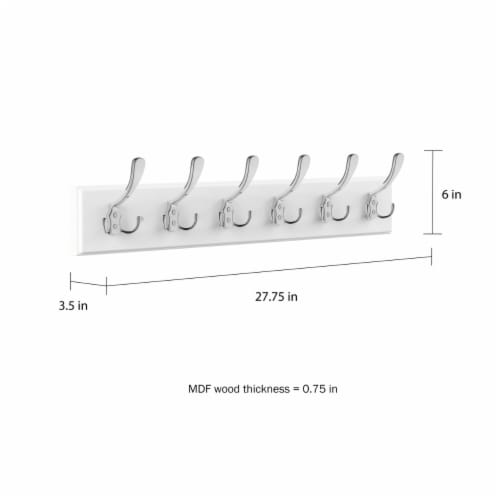 White Wall Hook Rail-Mounted Hanging Rack with 6 Hooks-Entryway, Hallway, or Bedroom-Storage Perspective: bottom