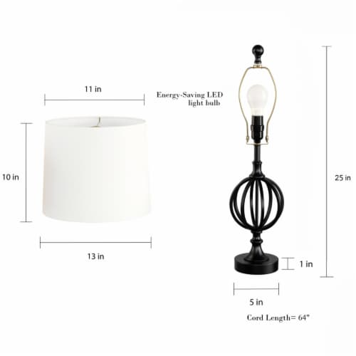 Table Lamps- Set of 2 Openwork Iron Orb Lights, Bulbs and Shades Included-Modern Rustic Style Perspective: bottom
