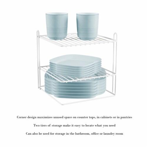 Two-Tiered Corner Shelf � Powder Coated Iron Space Saving Storage Organizer for Kitchen, Perspective: bottom