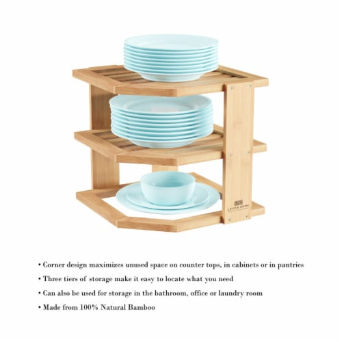 3-Tier Bamboo Corner Shelf for Kitchen or Bathroom Cabinet, Countertop, Cupboard Storage and Perspective: bottom