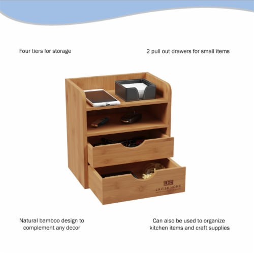 4-Tier Bamboo Desk Organizer - Wooden Office Supply Storage Accessory with Drawers Perspective: bottom