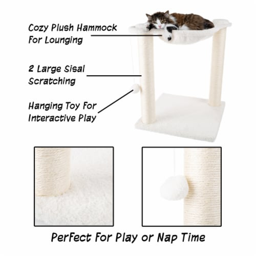 Cat Tree and Scratcher- Two Sisal Scratching Posts, Hammock Style Lounging Bed and Perspective: bottom