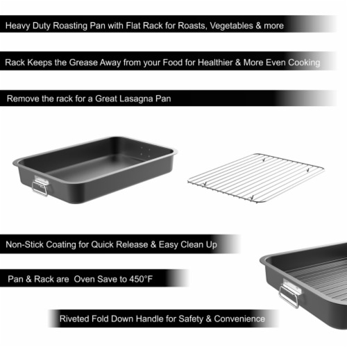 Roasting Pan with Flat Rack-Nonstick Oven Roaster and Removable Tray-Drain Fat and Grease for Perspective: bottom