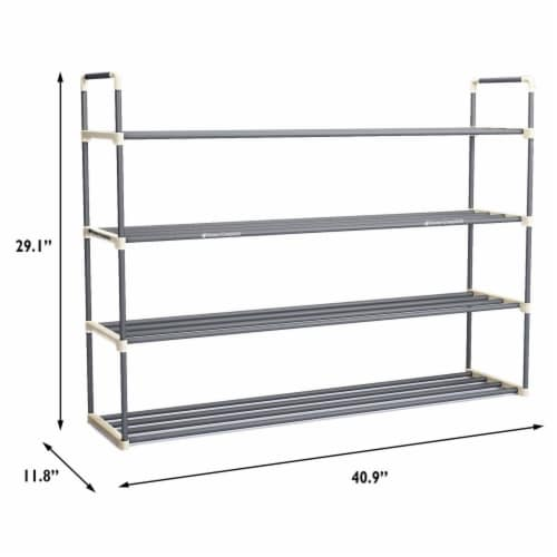 Shoe Rack Storage Shelf 4 Shelves Hallway Entryway Holds 24 Pairs 40 Inches Long Perspective: bottom