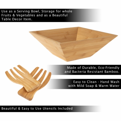 Bamboo Salad Bowl with Utensils – FDA Certified Modern Square Wood Dinnerware Eco-Friendly Perspective: bottom