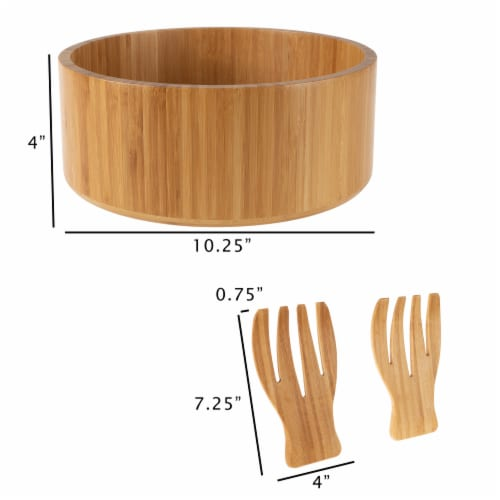 Bamboo Salad Bowl with Utensils – FDA Certified Modern Round Wooden Dinnerware Serving Fruit Perspective: bottom