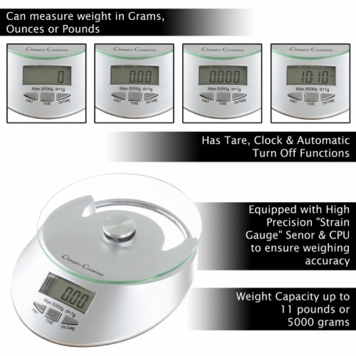 Kitchen Scale-Digital Electronic Food Weighing Appliance, 11LB. or 5000g Capacity-Measure Perspective: bottom