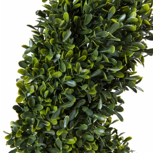 Faux Boxwood Realistic and Lifelike Plastic 5 Foot Spiral Topiary Arrangement and Weighted Perspective: bottom
