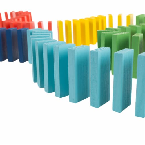 Colorful Wooden Dominoes Block Set with 200 Blocks- Classic Educational Game Perspective: bottom