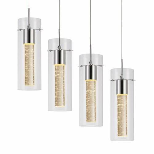 4-Light LED Cluster Cylinder Pendant Light Perspective: bottom