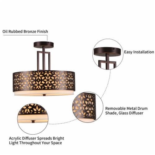 3-Light 14.5in. Oil Rubbed Bronze Drum Semi Flushmount Lights Perspective: bottom