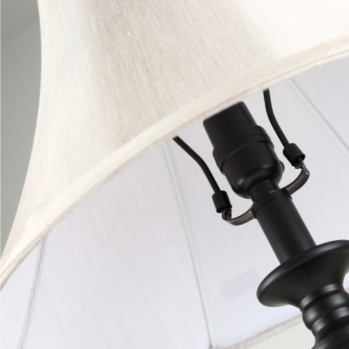 Cedar Hill 20-In Dark Bronze Table Lamp with Fabric Shade Perspective: bottom