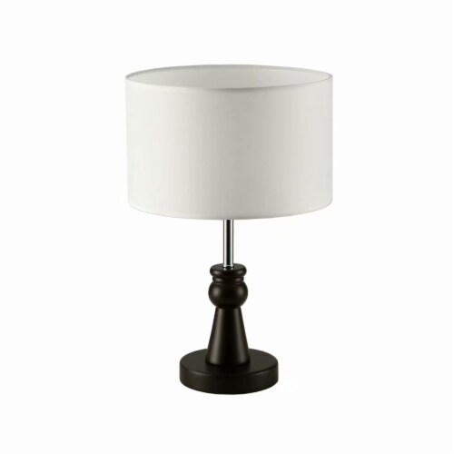 15in. Dark Bronze Table Lamp with Wood Base and round fabric shade Perspective: bottom