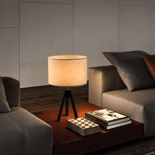 """19""""Dark Bronze  Tripod Table Lamp with round fabric shade Perspective: bottom"""