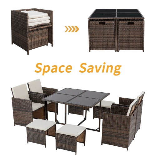 9 Pieces Rattan Patio Furniture Set Outdoor Dining Set with Waterproof Fabric Cushions Perspective: bottom