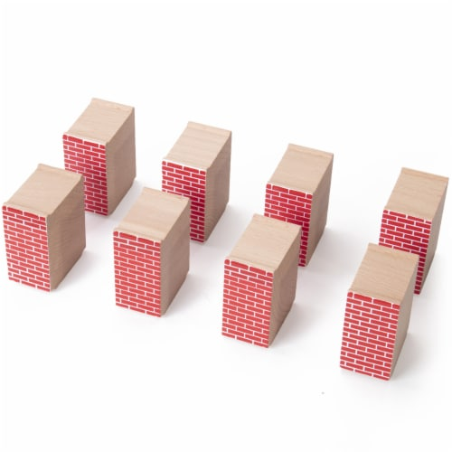 Red Brick Wood Train Risers, 8-pack Perspective: bottom