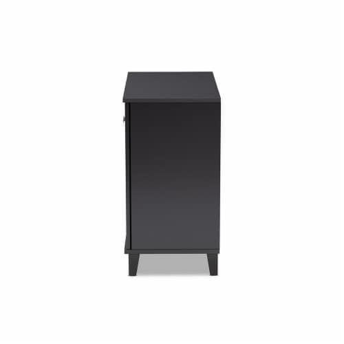 Baxton Studio Coolidge Modern and Contemporary Dark Grey Finished 4-Shelf Wood Shoe Storage Perspective: bottom
