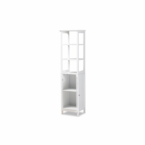 Baxton Studio Beltran Modern and Contemporary White Finished Wood Bathroom Storage Cabinet Perspective: bottom
