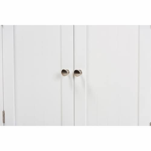 Baxton Studio Jaela Modern and Contemporary White Finished Wood 2-Door Bathroom Storage Perspective: bottom