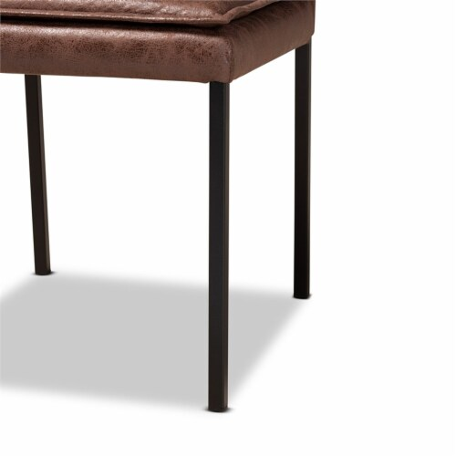 Baxton Studio Gerard Brown and Black Finished Metal 2-Piece Dining Chair Set Perspective: bottom