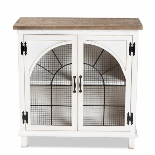 Baxton Studio Faron White and Oak Brown Finished Wood 2-Door Storage Cabinet Perspective: bottom