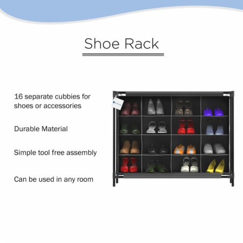 Shoe Organizer-16 Cubby Storage Rack for Tennis Shoes, Sneakers, Heels, Accessories-Space Perspective: bottom