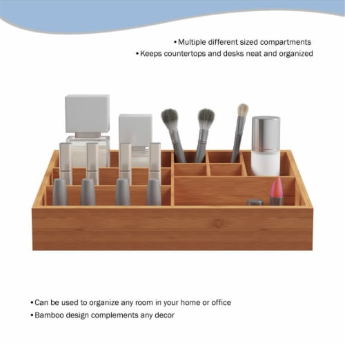 10 Compartment Bamboo Organizer- Desk Caddy-Bathroom Countertop Storage-Office Accessory Perspective: bottom