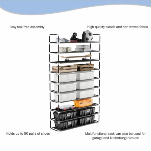 Shoe Rack-10 Tier Storage for Sneakers, Heels, Flats, Accessories, and More-Space Saving Perspective: bottom