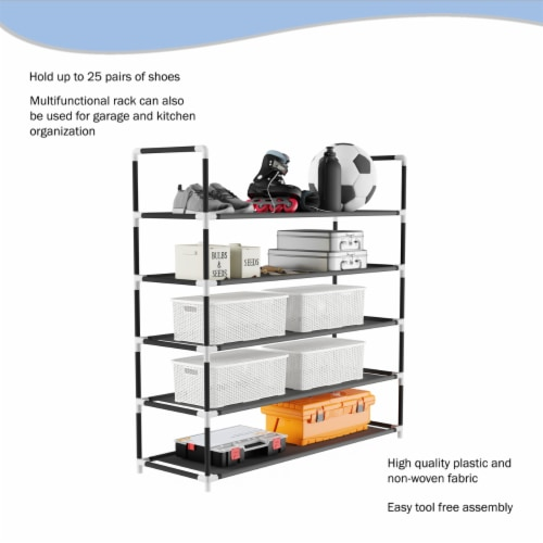 Shoe Rack-5 Tier Storage for Sneakers, Heels, Flats, Accessories, and More-Space Saving Perspective: bottom