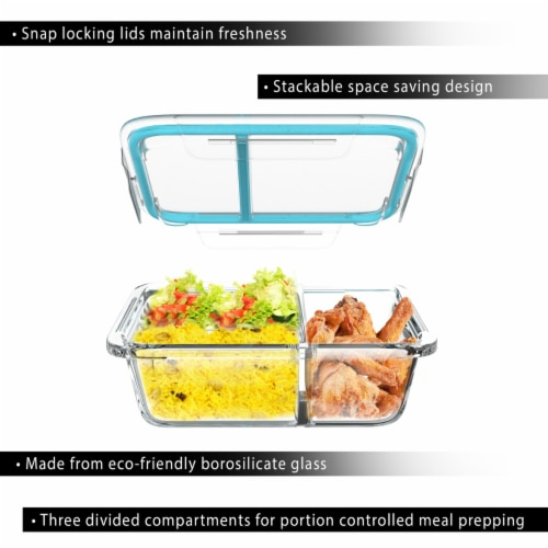 4 Glass Food Storage Containers Three Compartment Portion Control Meal Prep with Snap on Lids Perspective: bottom