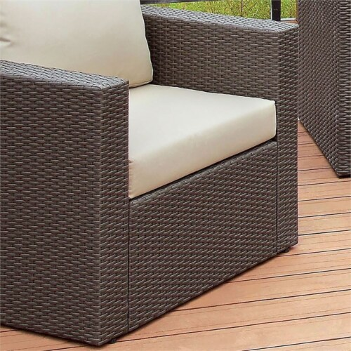Furniture of America Gin Wicker Patio Arm Chair in Brown and Beige Perspective: bottom