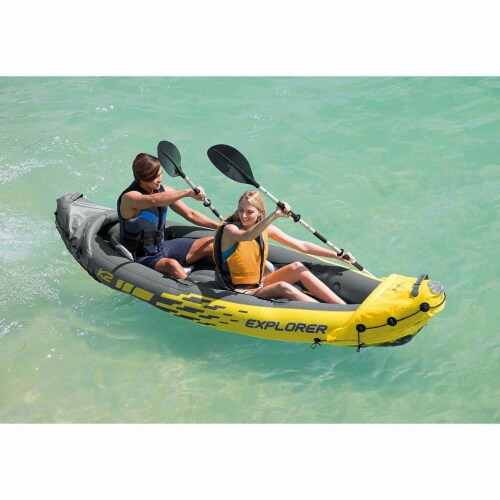 Intex 2-Person Inflatable Kayak w/ Oars & Air Pump & 4 Person Boat w/ Oars &Pump Perspective: bottom