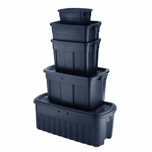 Rubbermaid 31 Gallon Stackable Storage Container, Dark Indigo Metallic (6 Pack) Perspective: bottom