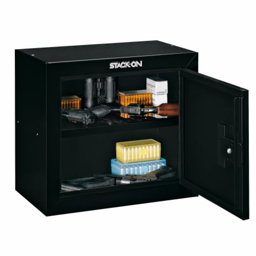 Stack On Stackable Locking 15 Inch Steel Pistol and Ammo Cabinet Safe (2 Pack) Perspective: bottom