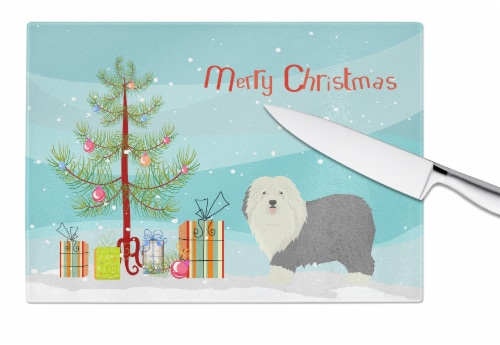 Old English Sheepdog Christmas Tree Glass Cutting Board Large Perspective: bottom