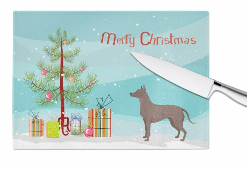 Mexican Hairless Dog Xolo Christmas Tree Glass Cutting Board Large Perspective: bottom