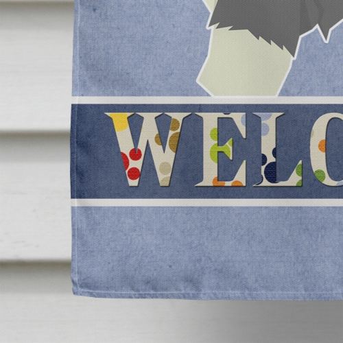 Old English Sheepdog Welcome Flag Canvas House Size Perspective: bottom