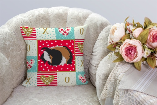 Carolines Treasures  CK5433PW1414 Sheba Guinea Pig Love Fabric Decorative Pillow Perspective: bottom