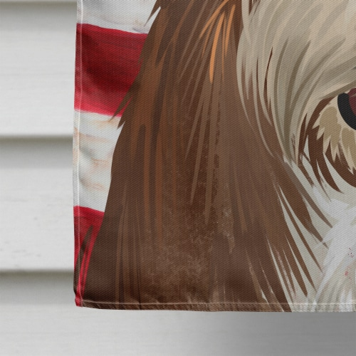 Fox Terrier Wire Dog American Flag Flag Canvas House Size Perspective: bottom