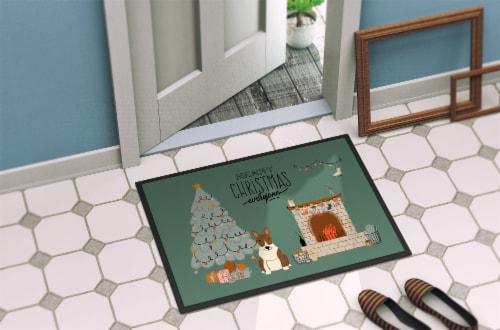 Brindle Bull Terrier Christmas Everyone Indoor or Outdoor Mat 18x27 Perspective: bottom