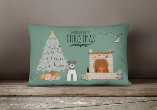 Salt and Pepper Miniature Schnauzer Christmas Everyone Canvas Fabric Decorative Perspective: bottom
