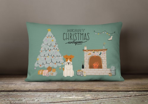 Wire Fox Terrier Christmas Everyone Canvas Fabric Decorative Pillow Perspective: bottom