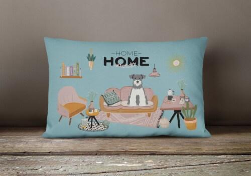 Salt and Pepper Miniature Schnauzer Sweet Home Canvas Fabric Decorative Pillow Perspective: bottom