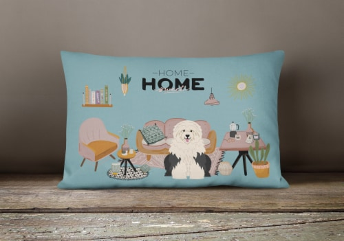 Old English Sheepdog Sweet Home Canvas Fabric Decorative Pillow Perspective: bottom