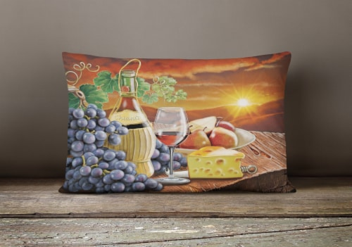 Chianti, Pears, Wine and Cheese Canvas Fabric Decorative Pillow Perspective: bottom